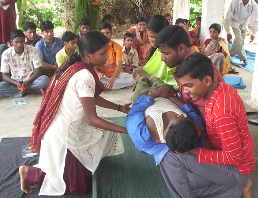 people learning how to help people in disaster situation