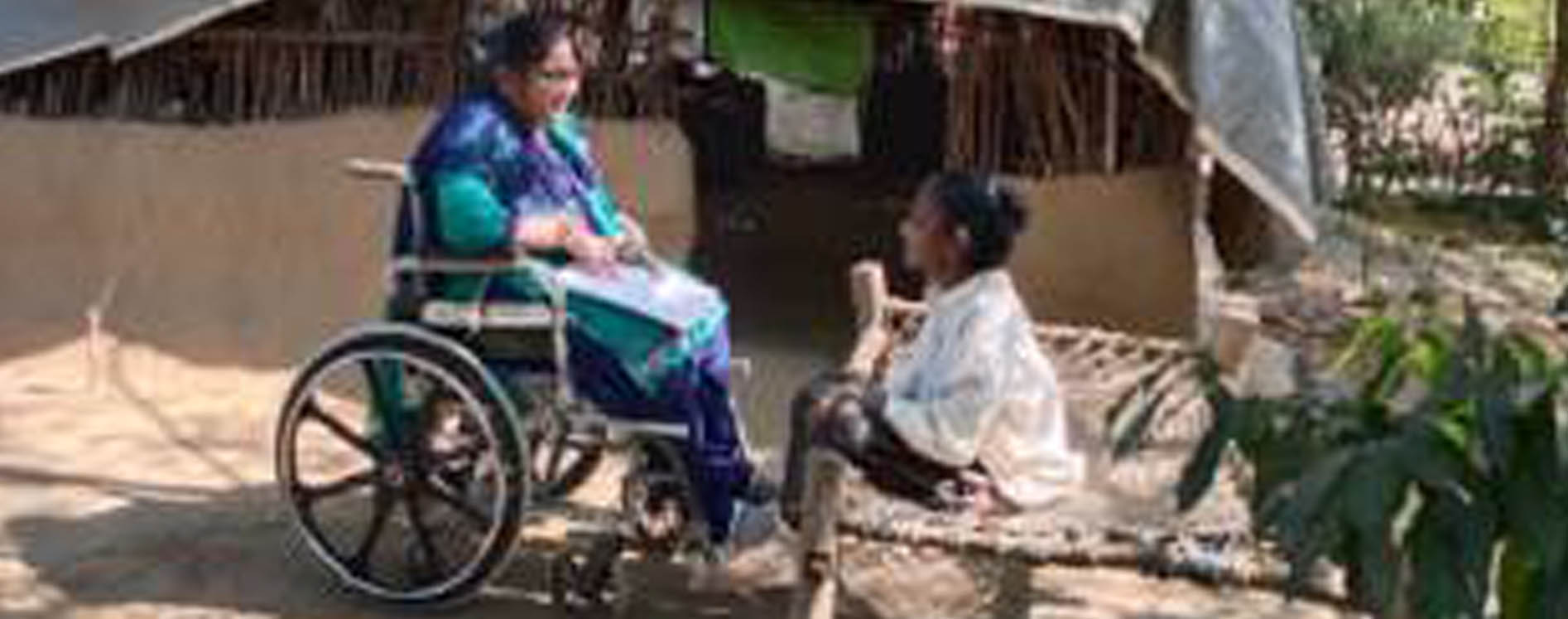Nita Parag speaking to Bhanu our beneficiary i Gujarat Project area